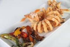 calamari зажарил еду стоковое фото