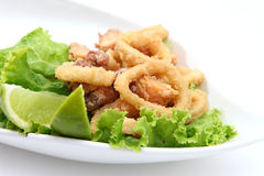 Calamari. Fried calamari whit salad and lemon Stock Photos