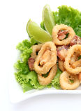 Calamari. White plate calamari with salad and lemon royalty free stock images