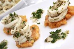 Calamari della salsa di aglio Fotografia Stock