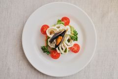 Calamari e cozze con le verdure su un piatto bianco su un fondo bianco con un'ombra, parte anteriore del fuoco selettivo, vista s immagine stock libera da diritti