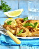 Calamari fried in breadcrumb. Calamari fried in breadcrumb with lemon and parsley Royalty Free Stock Photography