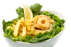 Calamari fried and potatoes Royalty Free Stock Photography