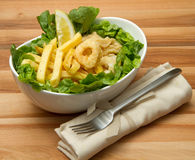 Calamari fried and potatoes Stock Photos