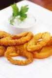 Calamari frito en una placa blanca Imagen de archivo libre de regalías