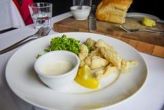 Calamari fritti nel grasso bollente con la salsa di tartaro e pagnotta del cobb Immagini Stock