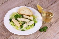 Calamari with green salad Royalty Free Stock Photo