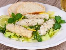Calamari with green salad, lemon and mint Royalty Free Stock Photos