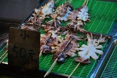 Calamari | Kenting nattmarknad | Asiatisk mat | Taiwan Arkivfoton
