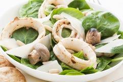 Calamari mit Spinat lizenzfreie stockbilder