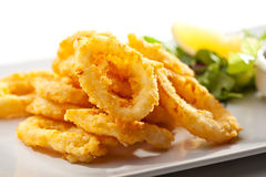Calamari Rings. Deep Fried Calamari Rings. Selective Focus royalty free stock images