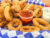 Calamari rings with sauce Stock Image