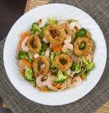 Calamari with Seafood pasta Royalty Free Stock Photos