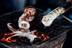 Calamaro arrostito o polipo al mercato tailandese dei frutti di mare Fotografia Stock