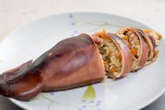 Calamaro cotto a vapore farcito del riso appiccicoso Fotografia Stock Libera da Diritti