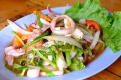 Calamaro fritto con l'uovo salato Immagine Stock Libera da Diritti