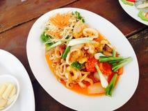 Calamaro fritto con l'uovo salato Fotografia Stock Libera da Diritti