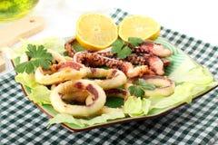 Calamaro fritto con lattuga ed il limone immagini stock libere da diritti