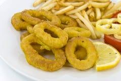 Calamaro fritto con le patate fritte Immagine Stock