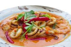 Calamaro fritto Stir con il tuorlo d'uovo salato Immagini Stock