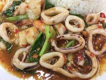 Calamaro in padella, gamberetto e basilico piccanti, gusto del peperoncino rosso fotografie stock libere da diritti