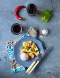Calamaro per la cena con riso Immagini Stock