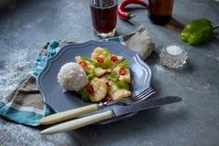 Calamaro per la cena con riso Fotografie Stock Libere da Diritti