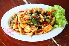 Calamaro piccante fritto Fotografie Stock Libere da Diritti