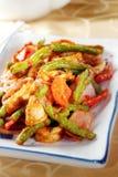 Calamaro piccante fritto con il fagiolo lungo Fotografia Stock Libera da Diritti