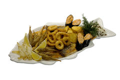 Calamary rings. Beer appetizer. Calamary  roasted rings Royalty Free Stock Photography