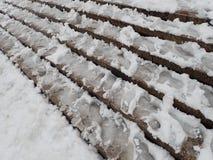 Calamité de neige dans une rue de ville images stock