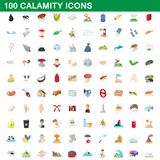 100 calamity icons set, cartoon style. 100 calamity icons set in cartoon style for any design illustration vector illustration