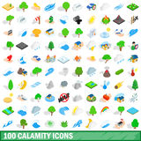 100 calamity icons set, isometric 3d style Royalty Free Stock Photography