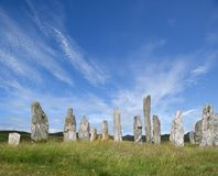 Calanais circle. Sunlit Standing Stones at Callanish, Lewis, Western Isles, Scotland royalty free stock photos