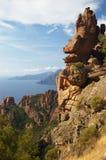 calanche可西嘉岛de piana岩石 免版税图库摄影