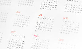 Calander with day & month Royalty Free Stock Images