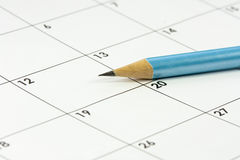 Calander pencil money Stock Photos