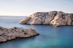 Calanque at dusk. The frioul island near Marseille in France in mediterranean sea Royalty Free Stock Images