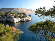 Calanques of Cassis, France. The famous Calanques of Cassis, along Mediterranean Sea, near Marseille (France Royalty Free Stock Photo