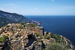 Calanques de Piana in Corsica Island. Calanques de Piana in Corsica seen via Capu Ghineparu, magmatic rocks seen along the Mediterranean Sea Coastline, Bay Porto royalty free stock photo