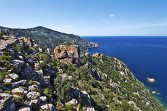 Calanques de Piana in Corsica. Magmatic rocks seen along the Mediterranean Sea Coastline. The Rock named Chateau Fort is in the middle, Bay Porto, Corse-du-Sud royalty free stock photos