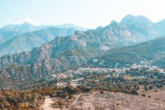 Calanques de Piana and Piana village in Corsica, France Royalty Free Stock Photos