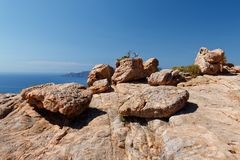 Calanques di Piana / Calanques of Piana 067. Landscape park Calanques near Piana, Corsica. Fantastic pink, red an grey rock formations. Amazing place, you can royalty free stock photography