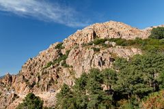 Calanques di Piana / Calanques of Piana 12. Landscape park Calanques near Piana, Corsica. Fantastic pink, red an grey rock formations. Amazing place, you can royalty free stock photos