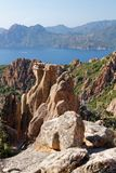 Calanques di Piana / Calanques of Piana 09. Landscape park Calanques near Piana, Corsica. Fantastic pink, red an grey rock formations. Amazing place, you can royalty free stock photos