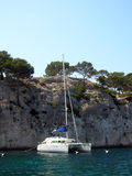 Calanques and yacht Stock Image