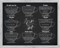 Calao σχεδίου καφέ, frappe, mocha, borgia, latte, ιρλανδικά, mazagr Στοκ Φωτογραφίες