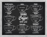 Calao схемы кофе, frappe, mocha, borgia, latte, Ирландский, mazagr иллюстрация вектора
