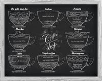 Calao схемы кофе, frappe, mocha, borgia, latte, Ирландский, mazagr иллюстрация штока