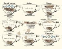 Calao схемы кофе, frappe, mocha, borgia, latte, Ирландский, mazagr бесплатная иллюстрация